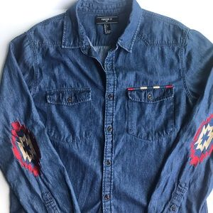 Demin shirt with elbow detail Forever 21 men